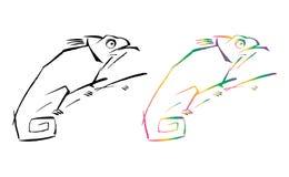 Artistieke zwarte en kleurrijke kameleon vectorgrafiek Stock Afbeeldingen