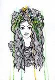 Artistis水彩和墨水写作有冠的女孩 库存照片