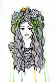Artistis watercolor and ink pen girl with crown Stock Photos