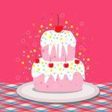 Artistisk kaka med körsbär Arkivbilder