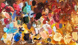 Artists acrylic painting palette. Artists acrylic multi colored painting  wooden palette Stock Photo