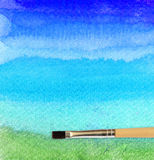 Artists brush strokes watercolor painted. For background royalty free stock image