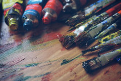 Artists brushes and paints Royalty Free Stock Photo
