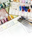 Artists brushes and watercolor paints Stock Photo