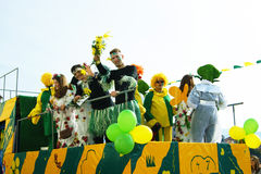 Artists in carnival wagon Stock Photography