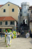 Artists in the central square of the city of Herceg Novi. Royalty Free Stock Photos