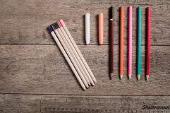 An artists colouring pencils stock images