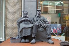 Artists depict old couple during world championships living statues in Arnhem Stock Photography