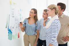 Artists in discussion in front of whiteboard Stock Photography