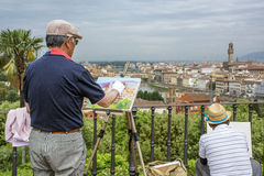 The artists draws in Florence Stock Photography