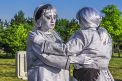 Artists dressed as living statues Royalty Free Stock Photo