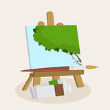 Artists easel with a displayed painting. Artists wooden easel with a displayed painting of a leafy green summer tree with a paint brush and canvasses Royalty Free Stock Photos