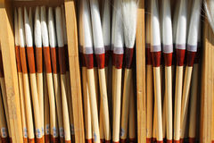 Artists Fine Brushes. Fine artists brushes for sale at a Korean stationary shop in Seoul Korea Royalty Free Stock Photography