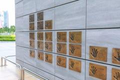 Artists hand prints of SM TOWN at COEX Artium, Gangnam district, Seoul city. Seoul, South Korea - July 3, 2018 : Artists hand prints of SM TOWN at COEX Artium royalty free stock image