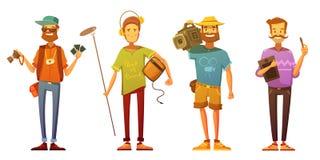 Artists Journalists Broadcasting Reporters Retro Cartoon Royalty Free Stock Photo