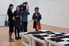 Artists and journalists at 7th Moscow International Biennale of contemporary art royalty free stock photo