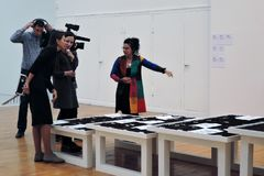 Artists and journalists at 7th Moscow International Biennale of contemporary art stock photo