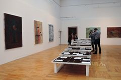 Artists and journalists at 7th Moscow International Biennale of contemporary art stock photography