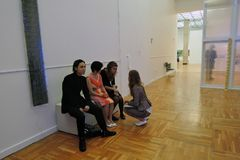 Artists and journalists at 7th Moscow International Biennale of contemporary art royalty free stock photography
