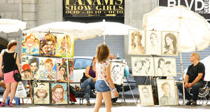 Artists in Las Ramblas Royalty Free Stock Image