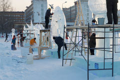 Artists make ice sculptures in Ice town Royalty Free Stock Images