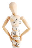 Artists mannequin wrapped in measuring tape. On a white background. Hands on hips stock image