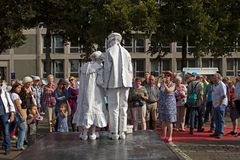 Artists at the Market during world championships living statues in Arnhem Royalty Free Stock Photos