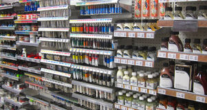 Artists materials, paints in a store. Stock Photography