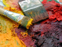 Artists oil painting palette Royalty Free Stock Photos
