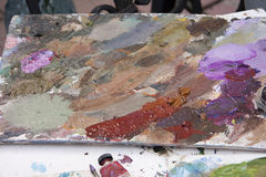 Artists oil paints. Many colour abstract close-up Stock Photos