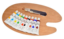 Artists Oil Paints And Palette Royalty Free Stock Photography