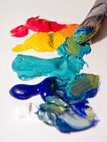 Artists Paint. And paint brush Royalty Free Stock Photography