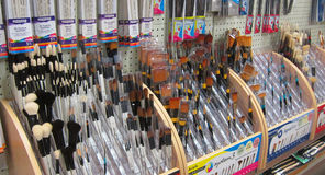 Artists paint brushes in a store. Royalty Free Stock Images