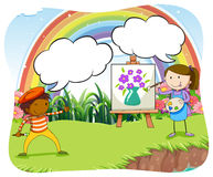 Artists painting on canvas in the park Stock Images