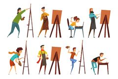 Artists painting on canvas set, painter characters vector Illustrations. On a white background royalty free illustration