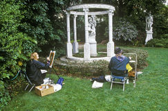 Artists painting Gazebo with statuary, Huntington Library and Gardens, Pasadena Stock Photos