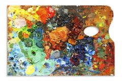Artists palette. Oil colors professional artists palette royalty free stock images