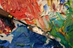 Artists palette. Close up of artists palette, oil paints and palette knife Stock Photos