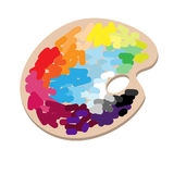 The artists palette with colorful paints Stock Photo