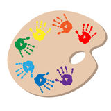 The artists palette with handprints Stock Photo