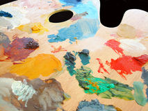 Artist's palette in use Stock Photo