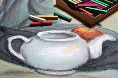 Artist's pastels and original pastel drawing of still life. Royalty Free Stock Photo