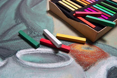 Artist's pastels and original pastel drawing of still life. Royalty Free Stock Photos