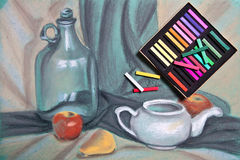 Artist's pastels and original pastel drawing of still life. Royalty Free Stock Photography