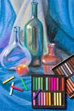 Artists pastels and original pastel drawing of still life. Royalty Free Stock Photography