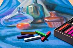 Artists pastels and original pastel drawing of still life. Royalty Free Stock Images