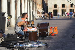 Artists perform in the street Royalty Free Stock Image