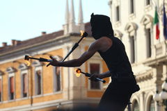 Artists perform in the street Royalty Free Stock Photo