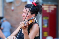 Artists perform in the street Royalty Free Stock Images