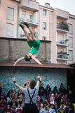 Artists performing in their acrobatic show Stock Images